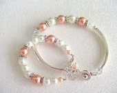 Mommy And Me Bracelets, Peach White Pearl Bracelets, Set Of Two Bracelets, Mom And Daughter Gifts, Big Sister Little Sister Gifts