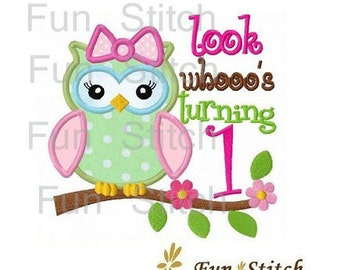 Set of 9 girly owl birthday numbers machine embroidery design