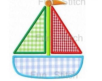 sailboat boat applique machine embroidery design