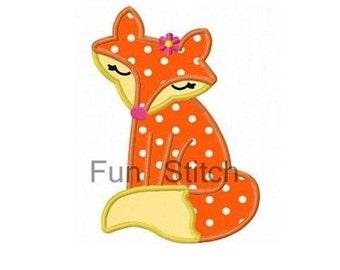 Girly fox applique machine embroidery design