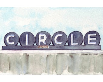 Watercolor Painting - Circle Cinemas Retro Sign - Boston Cleveland Circle Movie Theater- 8x10 Print Limited Edition