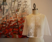 Dotted Swiss & Vintage Lace Wedding Capelet - The Alma