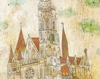 MATTHIAS CHURCH (Budapest, Hungary) art print // hungarian architecture // Budapest illustration