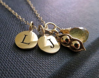 Personalized necklace, two peas in a pod necklace, initial, birthstone charm, twins baby gifts