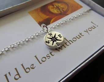 I'd be lost without you-Compass necklace, sterling silver compass charm jewelry, available in gold