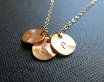 Rose gold initial necklace, three initial necklace, rose gold metal personalized jewelry, sisters, friendship