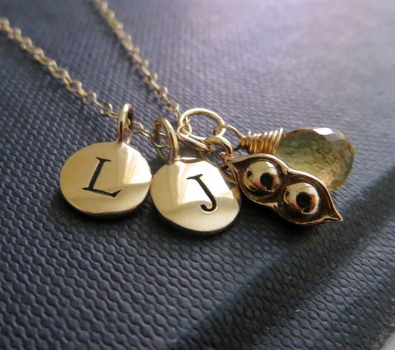 Personalized Necklace Two Peas In A Pod Necklace Initial