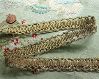 1/2 yard Antique metal lace trim flapper art deco 1900s gold shade ovals  picot