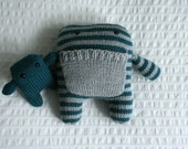 Hand Knit  Blue and Grey Mama and Baby Monsters