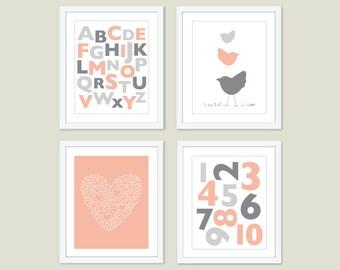 Baby Girl Nursery Art Prints - Peach and Grey Nursery Wall Art - ABC 123 Heart and Birds- Alphabet and Numbers Nursery Decor