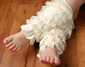 Girls Lace Legwarmers - Cream Lace Legwarmers - Fits sizes 6mo through Girls 8/10