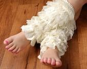 Girls Lace Legwarmers - Cream Lace Legwarmers - Fits sizes 6mo through Girls 8/10