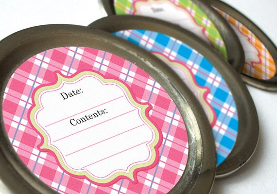 PASTEL Plaid canning jar labels, round mason jar labels, jam jar labels, jelly jar canning labels, food preservation