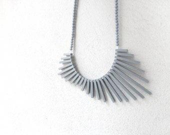 tribal geometric necklace , grey sticks and beads , contemporary jewelry