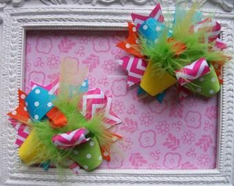 Hair Bows, over the top hair bows, pigtail bows, summer hair bows, chevron hair bows, hair bows for girls, set of 2 hair bows