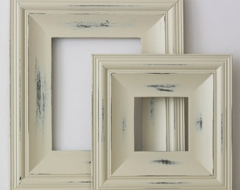 Sizes 8x10 to 12x12 Wood Picture Frame / Vintage White or Blue / Cottage Style