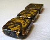 Vintage Murano Venetian Black Glass Gold Foil Square Bead -  20mm - Beautiful Focal Bead