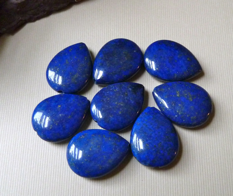 Teardrop Beads: 4 Lapis Lazuli Teardrop Beads 19x15mm Blue Lapis