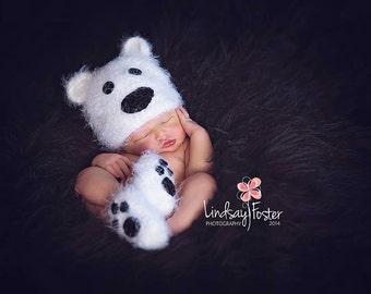 Crochet Fuzzy Polar Bear Beanie and Booties Photography Prop
