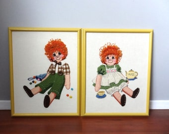 Raggedy Ann and Andy Crewel Embroidery Folk Art Wall Hanging Set of Two