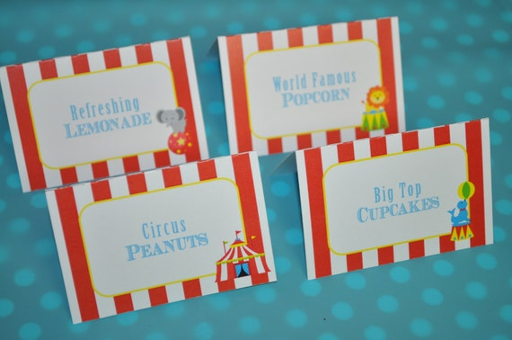 Circus party food label tent cards buffet labels carnival birthday circus birthday party - Carnival party menu ...
