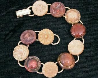 Mid 1900s glass button bracelet