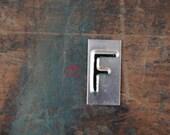 vintage industrial letter F / metal letters / letter art