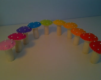 Rainbow Bright  Polka Dot Felt Mushrooms Fairy Ring in 10 Vivid Colors