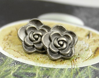 Metal Buttons - Rose Flower Metal Buttons , Nickel Silver Color , Shank , 0.31 inch , 10 pcs