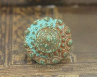 Patina Metal Buttons - Beads Domed Green Patina Metal Shank Buttons - 0.59 inch - 6 pcs