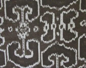 BENGALI CURRANT brown ikat designer, drapery/bedding/upholstery fabric