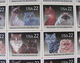 Meow or Later Full Sheet of 40 Vintage UNused US Postage Stamps 22c Cats Save the Date Wedding Postage Scrapbooking Cat Lady Shorthair Tabby