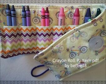 Kids Crayon Roll Up PATTERN, Easy to Make, pdf