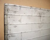 Vintage Pressed Tin Panel / Brick Pattern / Galvanized Metal / Painted / Large