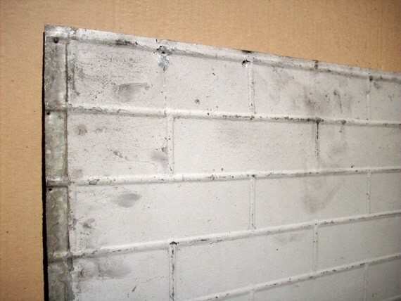 Items Similar To Vintage Pressed Tin Panel Brick Pattern
