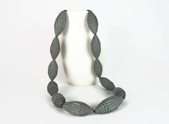 Grey: Necklace FILA with Beads of Corrugated Cardboard