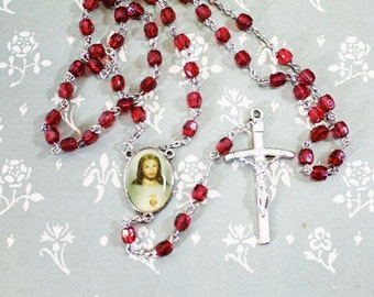 Red Rosary with picture of Jesus, Cross with Jesus, Crucifix, Vintage Rosary
