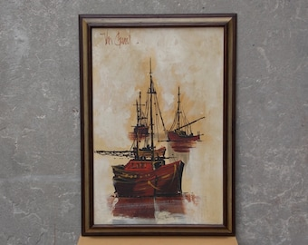 Large Mid Century Ship Painting for Van Guard Studios by Lee Reynolds