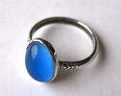 Vintage Ring Sterling Silver Jeweled Blue Infant Baby Rings size 2