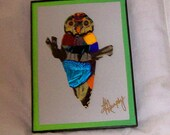 """Real  Butterfly Wings """" Owl """" Framed Collage"""