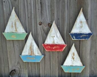 5 Beachy Weathered Sailboats, Beach House Wall Hanging, Lake House Decor, Coastal Living