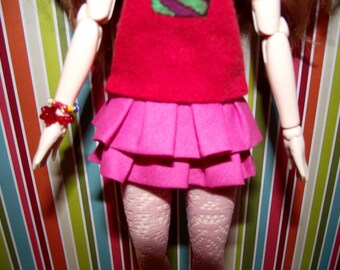 Double ruffle bright pink skirt for Pullip blythe