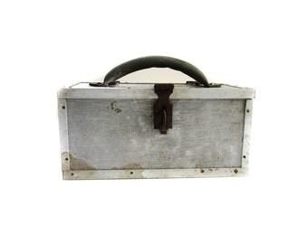 Vintage Handmade Sheet Metal Industrial Tool Box Made in U.S.A.
