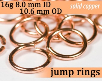 16g 8.0 mm ID 10.6 mm OD copper jump rings -- 16g8.00 open jumprings links