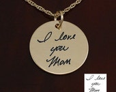 "Gold Handwriting Necklace - 7/8"" Gold Filled -  Handwriting Jewelry"