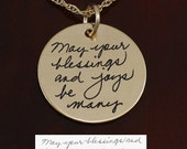"Gold Handwriting Necklace - 1"" Gold Filled -  Handwriting Jewelry"