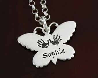 Butterfly Wings - Your Child's Actual Handprint / Footprint Necklace
