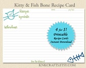 Kitty & Dog Recipe Cards 3x5 4 for 1 PDF Download Printable Kitty Bone Dog Woof Dog Bone Cats Fish