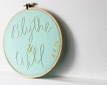 Wedding Date Sign. Personalized Wedding Gift. Custom Hand Embroidery with Stitched Names and Date. Design Your Own. Embroidery Hoop art.