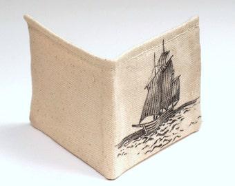 wallet hand drawn single ship on the sea bi fold wallet small lizjordanparker oldtradingpost item number 107